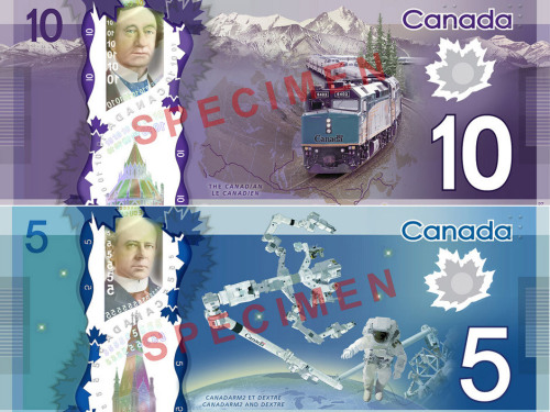 nationalpost:  Here's what Canada's new $5 and $10 polymer bills look like Canadian astronaut Chris Hadfield showed off Canada's new $5 polymer banknote from space on Tuesday.Hadfield joined finance minister Jim Flaherty and Bank of Canada governor Mark Carney live via video conference from the International Space Station to unveil the new bill, which features an image of the International Space Station. (Bank of Canada)  YES OMG