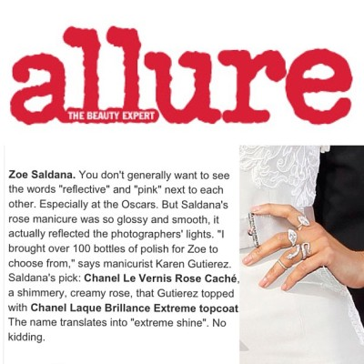"Our very own @karengnails gets a write up in @Allure_Magazine for her ""Glossy & Smooth #Manicure"" on #ZoeSaldana worn on the #Oscars #redcarpet #nailinghollywood"