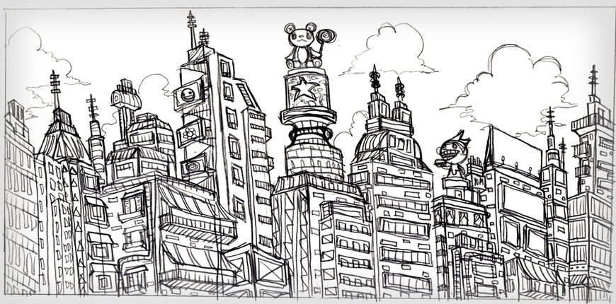 END CITY SKETCH   The preliminary sketch of End City.