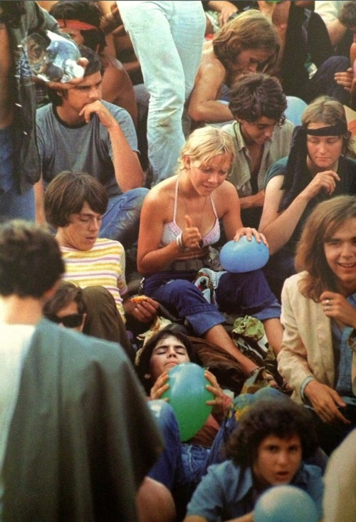High on the music at Woodstock.