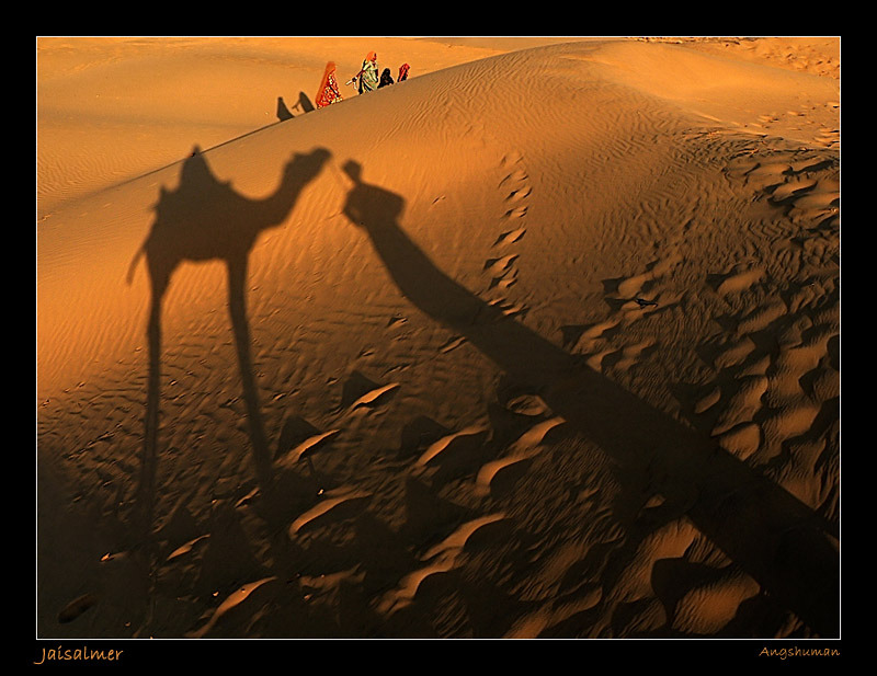 "The Shadows Waited… by Angshu: ""Sam Sand Dunes are situated at a distance of approximately 42 km from the city of Jaisalmer. Located in the midst of the Thar Desert, these sand dunes are amongst the most famous ones in Rajasthan."""