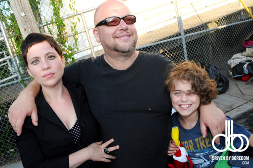 Frank Black Aka Black Francis of the Pixies with his wife Violet Clark and their son.