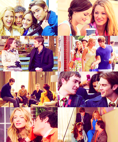 fangirl challenge | [13/15] friendships → Blair Waldorf, Chuck Bass, Nate Archibald & Serena Van Der Woodsen. You can tell us anything. We don't judge. We're the non-judging breakfast club. We're your best friends.