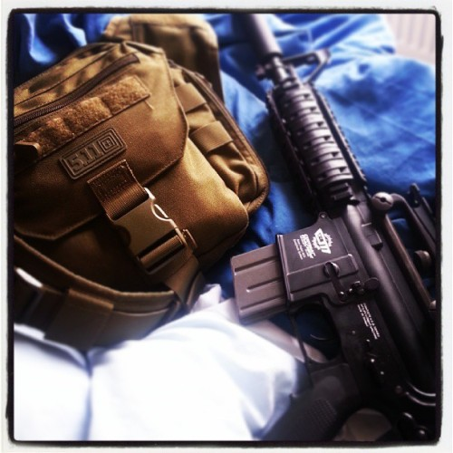 Rifle and camera bag :P … #airsoft #rifle #gun #M4 #5.11 #AR15
