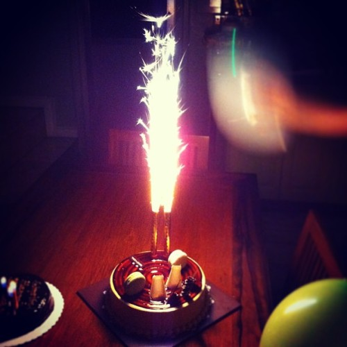 My explosive birthday cake! Just the way I like it! Hahaha 😁🎉🎂 #birthday2013 #cake #sweet #dessert #birthdaycake #salubong #sparklingcandle #candle #fireworks #sparkle