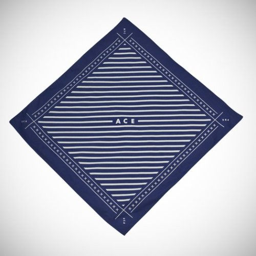 This is the Ace Hotel Bandana. You can tie it around your head or make a bindle with it and head off into the yonder. You can even use it to express something in your own personal hanky code, as long as what you want to say is symbolized by navy with white stripes.