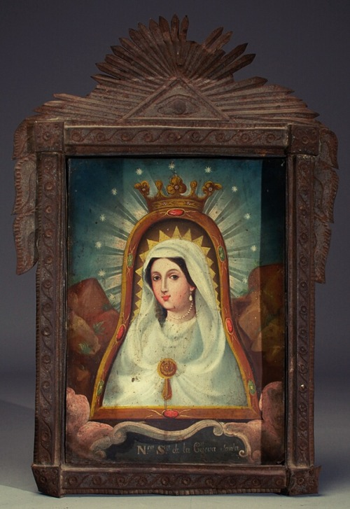 allaboutmary:  Nuestra Señora de la Cueva SantaA Mexican retablo painting of Our Lady of the Holy Cave.