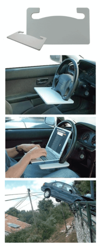 "georgetakei:  Friends, here is the Wheelmate Laptop Steering Wheel Desk, and the product created such an impression on me, I decided to review it.  Click on the photo above and check the first review. You won't be disappointed. ""My husband Brad always warns me not to try and update my Facebook page while I'm driving. ""You'll hit another pedestrian,"" he says. ""This isn't the Enterprise, there isn't a deflector array."" Then along comes a miracle product like this! I can now happily fly at warp speed down the streets of Los Angeles, laptop or mobile device perched right in front of me, so I can keep both eyes right on it AND on the road. It's so much easier to ignore all the frightened screams and annoying honking when you've got Facebook to look at while driving. Thank you, Wheelmate""  Again, actual best person ever George Takei."