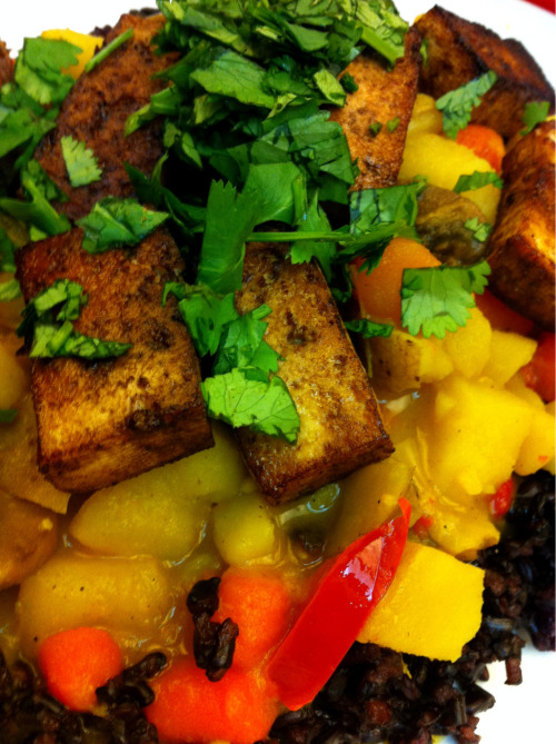 Veggie Curry with Marinated Fried Tofu on a bed of Heirloom Forbidden Rice  For the tofu marinade, I used a mixture of Aunt Patty's Organic Tamarind Paste (my splurge at the grocery store - $12.75 for a 12 oz. jar), a healthy amount of Sriracha, some Bragg Liquid Aminos, and some soy sauce. I fried the tofu in sesame oil and a touch of olive oil.  Achieved great flavor and texture!  The curry is a tried and true recipe of mine, and served over heirloom forbidden rice it was pretty as well as tasty. :)  Happy to be back in the kitchen!