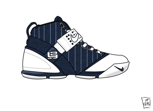 theillsuite:  Nike Zoom LeBron 5-  Released in 2007, the LeBron 5 continued King James's legacy.  The 5s replaced the Foamposite material from the 4s with Phyposite, which is a mixture of Foamposite and Phylon.  The design of the LeBron 5 took cues from LeBron's childhood.  The ankle strap design was inspired by LeBron playing bball with a milkcrate and street maps of his hometown was place on the bottom and behind the tongue.