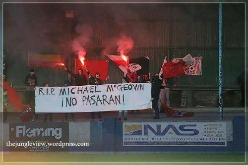 paxblueribbon:  R.I.P. Michael McGeown - No Pasaran!  Derry City Ultras display for former player Michael McGeown who fought with the RAF in WW2 and was interned in various Nazi POW camps from 1942-1945. McGeown passed away in Belfast earlier this month at the age of 91.
