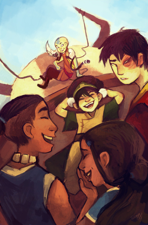 duedlyfirearms:  everyone laughs at a joke but zuko doesn't get it: the illustration the first in a series of prints i am doing for possible con sale!  you can also purchase it online here!  Aaahhh I really like how they all actually look like the ethnicities they are supposed to be! Good picture yes. <3