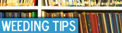 "jerksquad:  librarymayhem:  thehannahmachine:  Weeding Tips from Rebecca Vnuk If you've ever wondered about any of these questions: What can we do with weeded copies? We have a professor who is adamant about keeping all of the books in his subject area, even though they do not circulate. What do we do? In a library without subject experts, how do we identify the classic or landmark books in a subject that we would want to keep? Do you have any advice on how to weed a reference collection down to fit in a smaller space? Can you learn to love weeding? If a book is 10 years old and hasn't circulated recently, is giving it one last chance (on an endcap or display) justified? How do you maintain fiction series or complete collections of an author's work? How do you justify weeding to a patron when they complain your budget is going up? Or my personal favorite: My staff members do not want to weed ANYTHING. Help!Then your search is over! Click through to read more!   I love this article, I love Rebecca Vnuk and the Shelf Renewal blog, and I love talking about weeding, but this really threw me for a loop: ""Can you learn to love weeding?"" Are there people out there who really don't love weeding? I mean, I know that sometimes I might enjoy weeding a little too much, but I have never not liked it. I totally do it when I'm stressed and need some therapeutic time out in the stacks. It's like a cleansing ritual.  weeding is my favorite activity. I have an ongoing daydream of starting a library weeding consulting company so my life can be all weeding all the time.  Who are these people who don't love weeding? Can I have their jobs? We're about to undergo a major scale down/remodeling (yay budget cuts!) and I've been asking on a weekly basis when they'll start letting me weed. I've got my criteria outlined and everything. Let me at the books!"