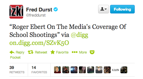 Fred Durst regularly tweets out Digg links and it's my favorite thing.