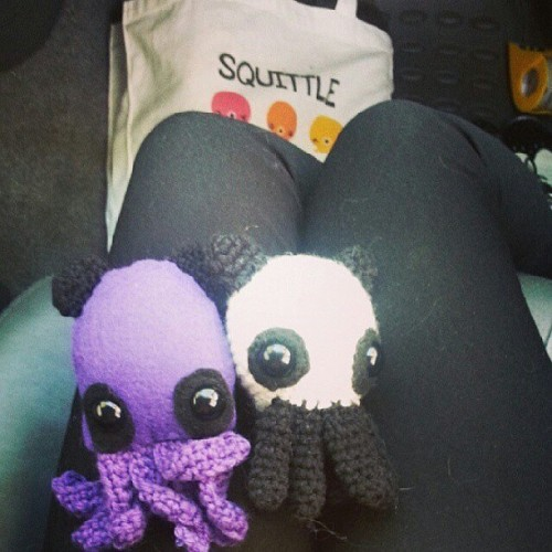 Panda bear squittles! #squittle #amigurumi #squid #octopus #sew #sewing #crafts #yarn #crochet #purple #tentacles #bag