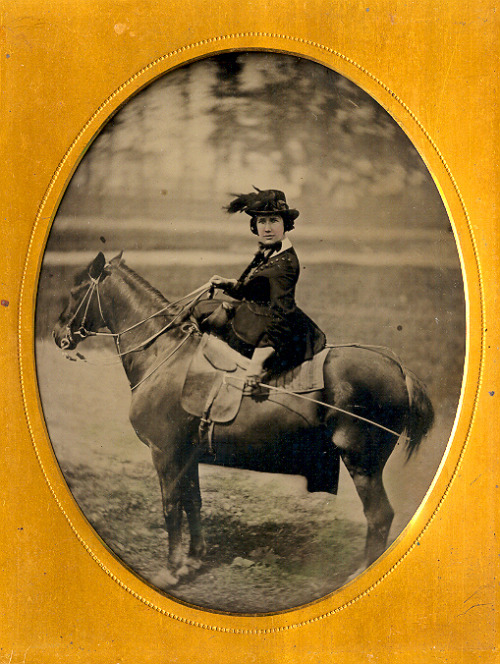 ca. 1860's, [ambrotype portrait of a woman riding side-saddle on her horse] via Capitol Gallery, 19th Century Hard Images