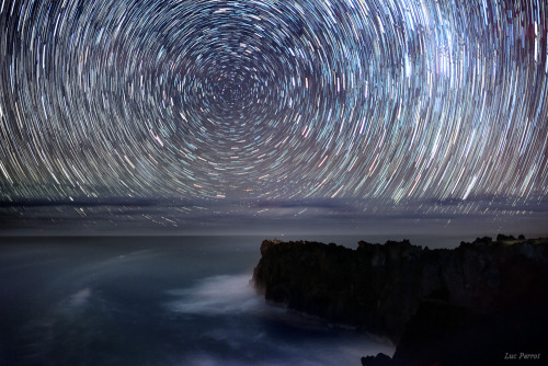 Star Trails at Cap Méchant, Reunion Island