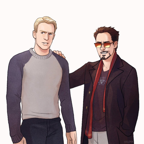 stevetonyfeels:  Steve and Tony by *Hallpen