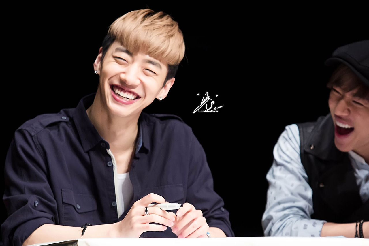 thekpopchingu:  Aww~ I especially love this picture ♥ Yongguk's smile argh *_* And Daehyun's laugh is so cute. OMG. Too much perfection in one picture. AIGOO.