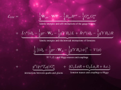 "rhamphotheca:  The Standard Model of particle physics is a theory concerning the electromagnetic, weak, and strong nuclear interactions, which mediate the dynamics of the known subatomic particles. Developed throughout the mid to late 20th century, the Standard Model is truly ""a tapestry woven by many hands"", sometimes driven forward by new experimental discoveries, sometimes by theoretical advances… (read more: Wikipedia)"