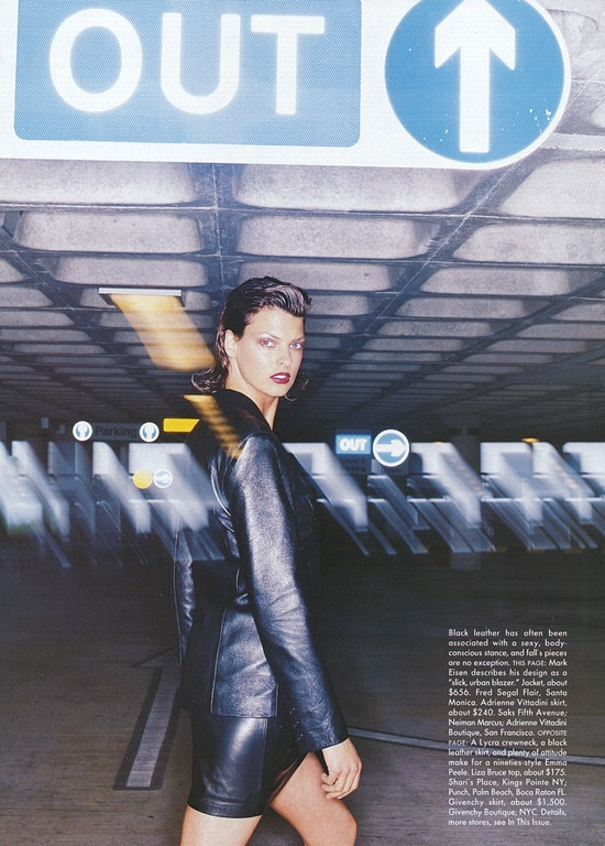 THE LEATHER FORECAST Linda Evangelista by Nick Knight for Vogue US October 1994