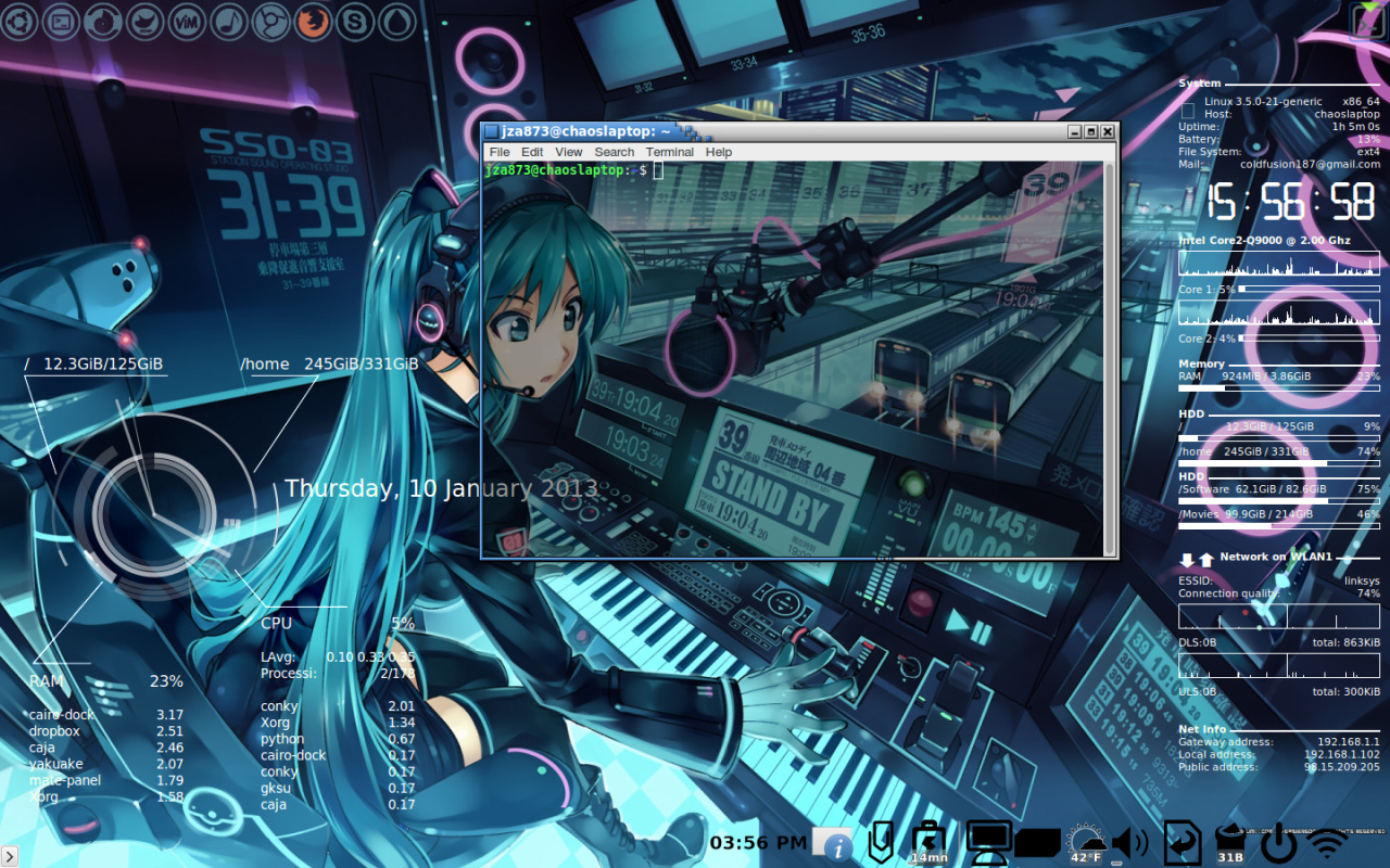 my computer. Linux conky cairo-dock vocaloid background