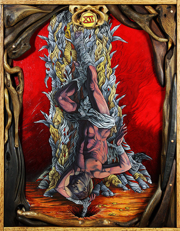 """The Hanged Man: XII"" by artist Brenton Bostwick.  11""x14"" oil on panel - artist made wood frame.  $1000 and available for purchase here:  http://www.moderneden.com/collections/tarot/products/the-hanged-man-xiiPart of the Tarot: Art of Fortune exhibition at Modern Eden Gallery in San Francisco, curated by Warholian's own Michael Cuffe.For more on Brenton, follow his Facebook page here:  https://www.facebook.com/BrentonBostwick"