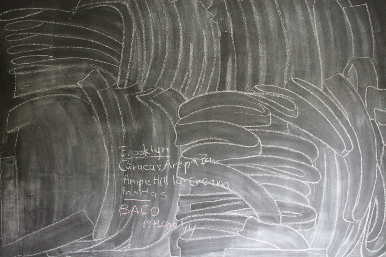 Someone didn't fully clean the chalkboard, so I outlined the lines left by the washcloth in chalk.  It sort of looks like Twombly right?