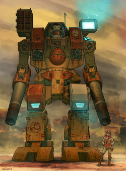 "Art by Mike FailleTitle: Warhammer Battlemech(Grandma Gets A Brand New Hip)Print size: 7"" x 9.5"" @ 450 ppiMedium: Photoshop CS3, Illustrator CS3©2010 Mike Faille"