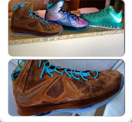 Nike LeBron X EXT - Hazelnut brown suede uppers with bright blue accents on an icy blue sole.  definitely interesting seeing more luxury materials being incorporated in basketball sneakers. grab these April 26th