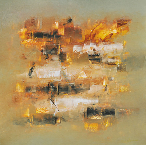 streptomyces:  Raju Durshettiwar - Defining Space Acrylic on canvas