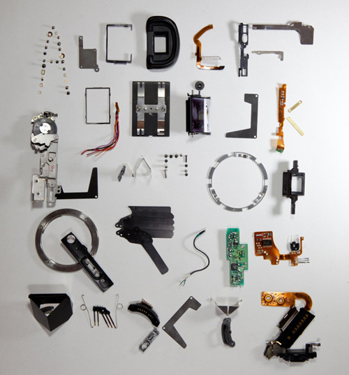 alphabet made from deconstructed camera parts by Stefan Abrahams (via lomography)