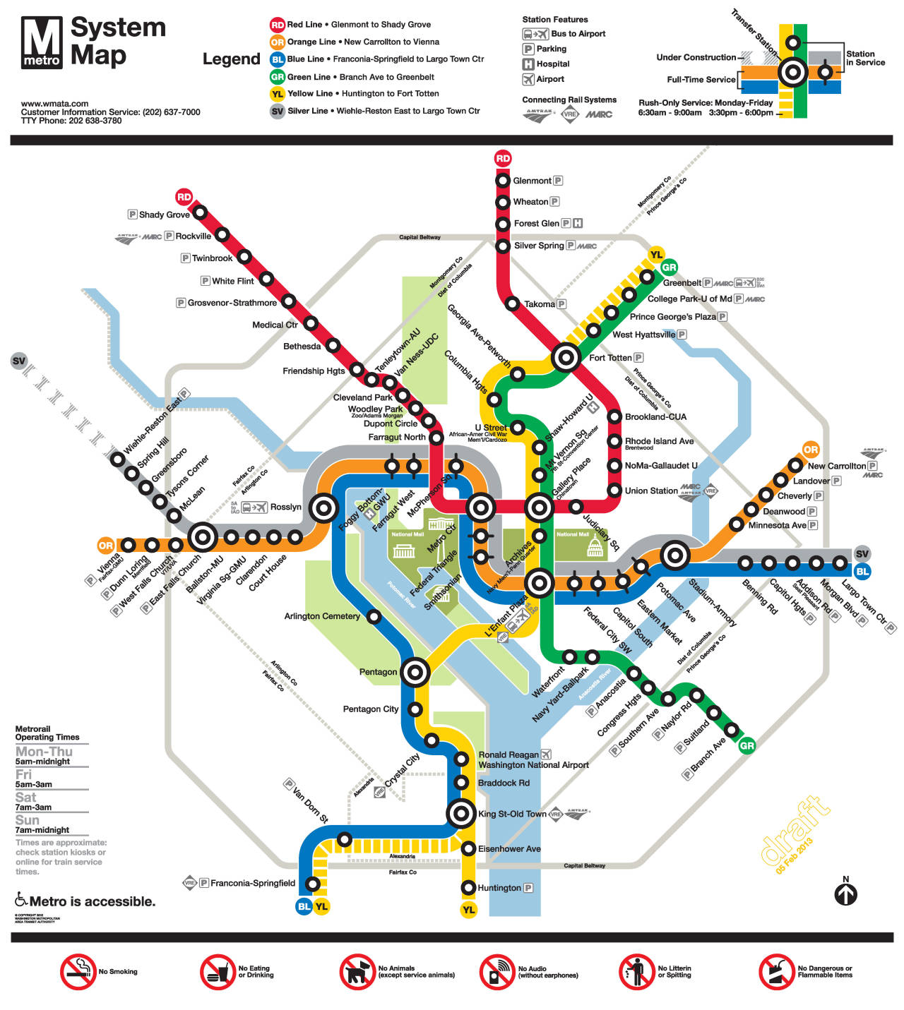 "Future Map: Washington, DC ""Silver Line"" Draft Map Long time readers will be aware of my low opinion of the Washington DC Metro Rail map — here's a fairly scathing review of the ""Rush+"" map (March 2012, 2.5 stars) to refresh your memory. It looks like WMATA is preparing for the opening of the Silver Line and has put a draft version of a new map up on MindMixer for comments. According to the blurb there, the route lines are now thinner and station names are now treated more consistently. The other obvious visual change is the introduction of a new station symbol (one with thin ""whisker"" extensions) to accommodate the three routes that will now run across the middle of the map. Let's discuss all of these in turn. The route lines may be thinner, but only barely. Probably not enough to make any useful difference to the map. While the playful thickness of the route lines are very much an identifying feauture of the WMATA map, it's now becoming a liability to its usefulness. The extra space required to accommodate the Silver Line through Foggy Bottom and Farragut West means that the six stations on the northwest leg of the Red Line inside the District have to be crammed into a ridiculously tight space — far tighter than anywhere else on the map. I always feel that a diagrammatic map like this has to strive for even and harmonious spacing across the entire map… and this map simply doesn't do that well any more. The new treatment of station names includes ""consistent street abbreviations across the map"", which should be a good thing: it's always better to choose either ""Avenue"" or ""Ave"" and stick with that choice across the whole map. However, ""Hgts"" is a visually awful abbreviation for ""Heights"" and is included for the sole purpose of making ""Columbia Hgts"" fit on one line without conflicting with the ""Van Ness-UDC"" label. ""Ctr"" is an equally terrible abbreviation for ""Center"", and doesn't actually seem to bring any real space-saving benefits to the map. The new ""whiskered"" station symbol just feels forced and unnecessary to me. It introduces a third station symbol, even though hierarchically, it means exactly the same as the plain station circle that already exists. An elongated ""pill"" symbol with the same cap radius as the normal circle would work a lot better in my opinion. Or — narrow down the route lines until the normal circle symbol can touch all three. At the moment, this map is only a work in progress, but I'm not exactly impressed by any of the new design decisions."