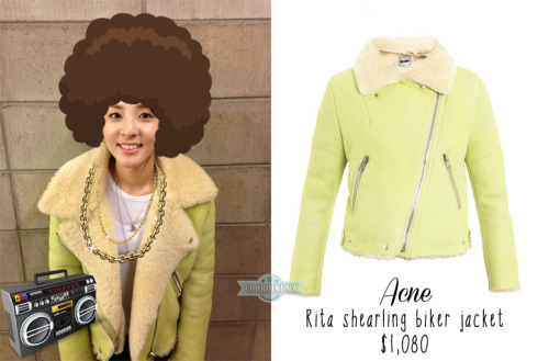 [130210][STYLE FILE] Spotted Dara in Acne jacket while choosing new hairstyle Last week, Dara tweeted a series of really hilarious potential hairstyles for 2NE1's upcoming comeback.  Thanks to the keen eyes of the fashionistas at Coordi Nuna, we can report that Dara was wearing ACNE's Rita shearling biker jacket in mint green that retails for $1,080USD at Net-A-Porter (SOLD OUT!). ACNE was founded in Stockholm in 1996 with the ambition to create and develop a lifestyle brand through the production of desirable products as well as helping others build their brands. This particular jacket is a statement winter piece Acne revamped its cult 'Rita' jacket for the new season.  Finished with silver zips and a luxuriously soft cream interior the lamb leather jacket features long sleeves, with frontal zipped pockets and a central slanted zip fastening to the front. The piece is finished with a cream lamb shearling lining and oversized collar. Do you like Dara's jacket? Source: acnestudios.com, Coordi Nuna,