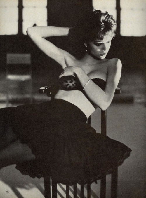 "80s-90s-supermodels:  ""Black And White - With A Difference"", Vogue US, March 1982Photographer : Arthur ElgortModel : Vanessa Angel"