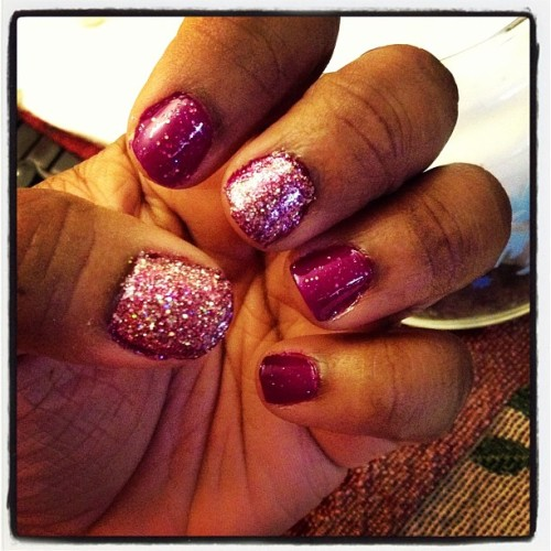 #purple #sparkle #discoball #nails #nailfun #nailpolishjunkie #iheartnailpolish #keepcalmandpaintyournails💅💜😁