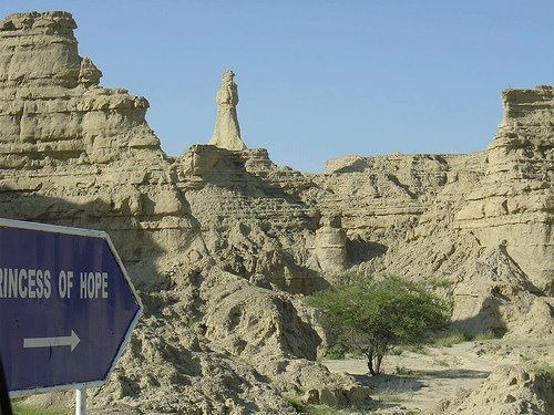 "farhansh:  Princess of Hope, Makran, Balochistan, Pakistan. - Wonders of nature along Makran Coastal Highway! The name, ""Princess of Hope"" was given by Famous Hollywood Actress Angelina Jolie on her visit to this area. This interesting rock is a natural one as it looks like a lady standing on the top of a mountain. It can be seen when you are traveling on Coastal Highway near Buzi Pass in Balochistan. This area is also known as the Grand Canyons of Pakistan."