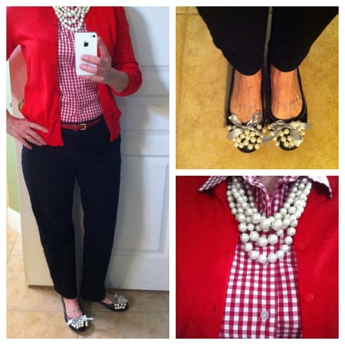 Red gingham and pearls for Valentine's Day.  #gingham #pearls #red #ralphlauren #jcrewlet #pearls #balletflats #cardimania #rolex #cartier #jcrew