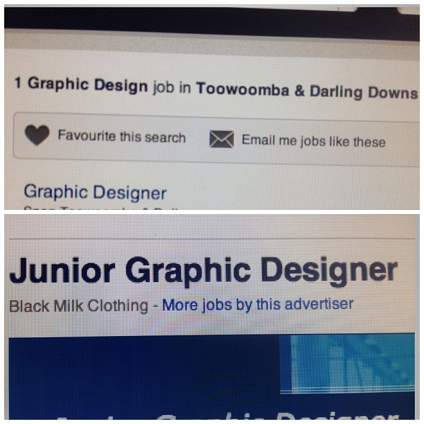 "Just looking for jobs in toowoomba. One graphic design job. Then there's like 20 in Brisbane and I'm all like ""get bent!"" And THEN I see a junior position for a bm designer and I practically jizzed my pants then I realised I live in this craphole. Maybe it's one of the many signs for me to go to the land of bris and Vegas. And now my bro is saying go for it and now I'm thinking there's a chance of me having a cool design job….. -sigh- #tldr #storyofmylife"