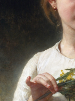 c0ssette:  William Bouguereau 'Mimosa' Detail (the Mimosa flower) 1899.