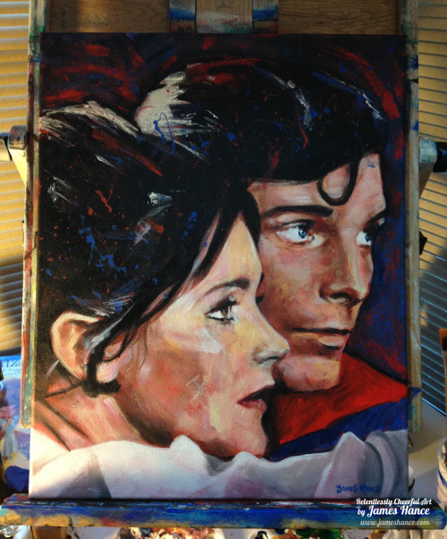 "jameshance:  Latest Painting For Sale - ""Can You Read My Mind?"" (Superman) A 3 day listing, starting at $1 The Man of Steel - my favorite comic book character of all time. I was absolutely terrified of the baddie Superman that he had to fight in Superman III, flicking peanuts at the bar and destroying things and almost growing a beard and everything. Chris Reeve will always be Superman to me :) x My site / My Facebook / Original Art on eBay"