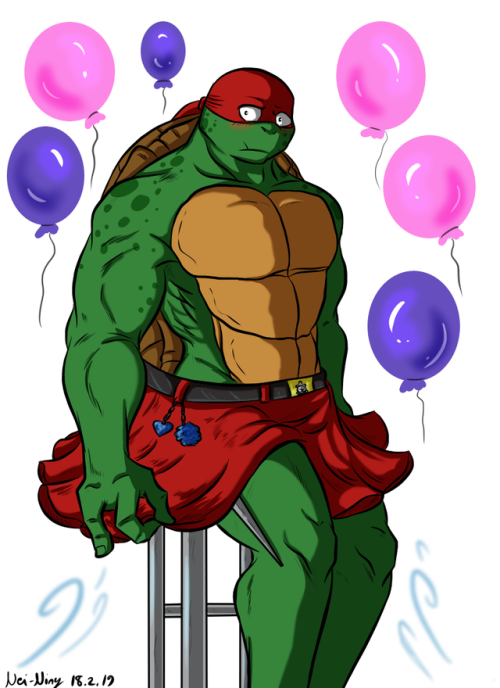 nei-ning:  Happy birthday to @baraturts! :D <3I got this little idea for your birthday gift art from our little chatting about Raphael liking / wearing skirts ~ <3 And as you can see he has little hidden blade (sai) under his hem so don't go grope him! :D He's not afraid to use it ;)