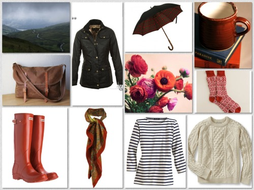 Rainy Days: English countryside style (Barbour Utility Jacket/Hunter Boots/Liberty Scarf/Saint James Tee/Fairisle Socks/Cableknit Sweater/Tartan Umbrella/Waxed Messenger Bag/A Hot Mug of Coffee for Coming Home To/Spring Ranunculus)