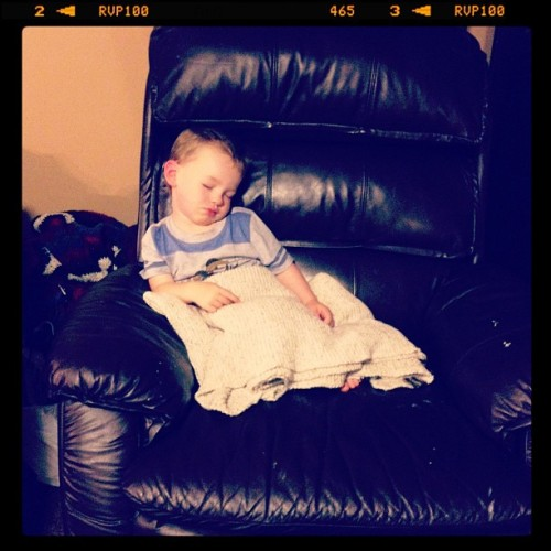 We found Tristan asleep on the chair this way. He got the blanket and everything himself…