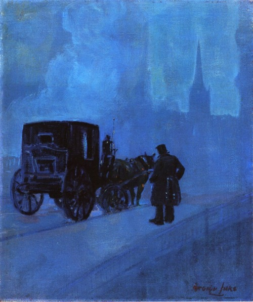 George Luks  A Foggy Night