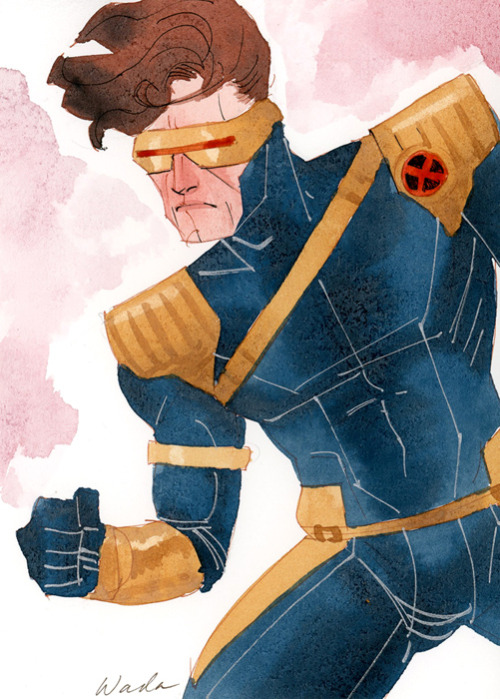 "kevinwada:  Long lost Cyclops sketch/commission for APE 2012.  I had originally only offered 9x9"" watercolor pieces but someone requested a piece half that size to put in her sketchbook.  He was quite small, and thus much rougher than the other commissions I did so he's sort of a sketch/commish hybrid and I'm happy with how he turned out.  Added my own spin on his most classic of costumes.  Hope you guys like.  Sorry it's old work.  Again.  I'll try to get better about posting new work real soon.  Just been busy making that dolla."
