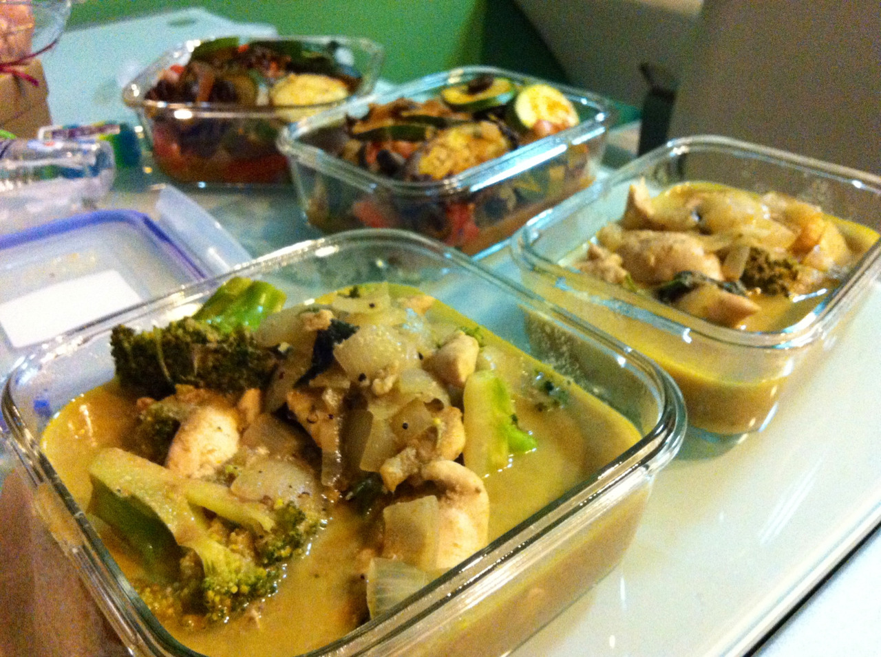 Paleo Batch Cooking: Thai Green Chicken Curry; Caponata Okay. Time to sleep.