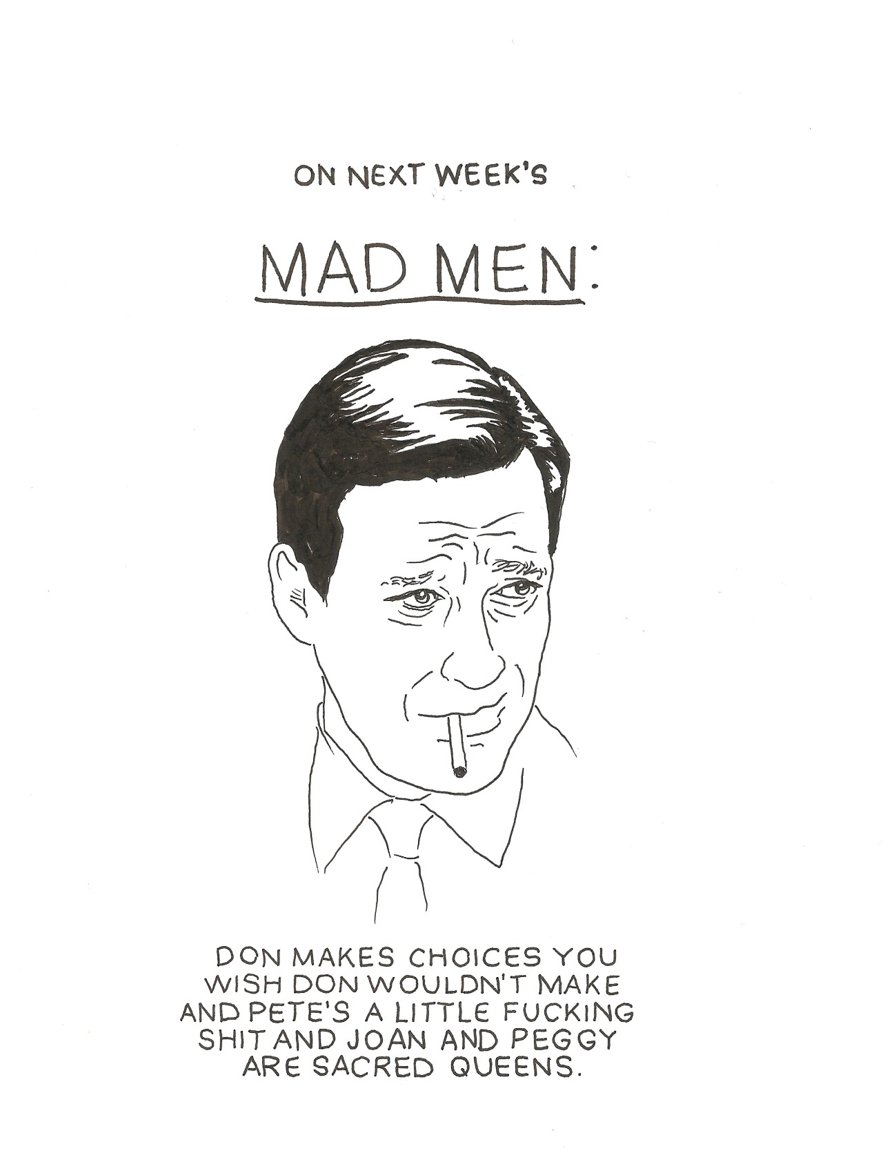This isn't even funny I just love Mad Men and want to talk about it all the time.
