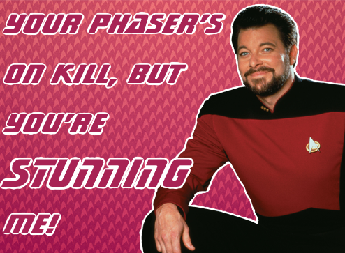 georgshadow:  okay, TNG valentines with the worst puns and pick-ups I could think of uhhh the background is an edited version of this which I can't find the original source for but I think it's the official ST site? feel free to reuse and repost but please link back to me or this post