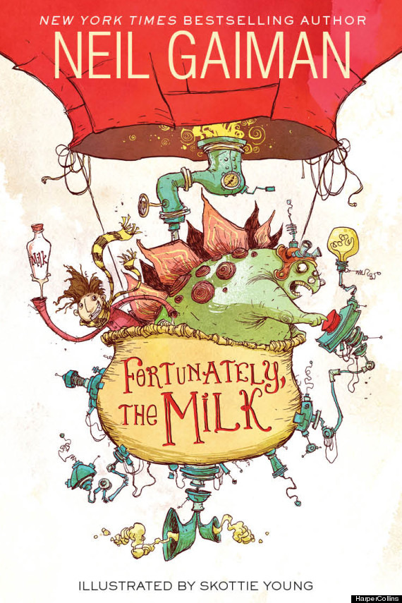 Neil Gaiman just posted the cover of his new book for kids, Fortunately, The Milk, which will be out this September. It's illustrated by Skottie Young, and the art looks fun and kooky!